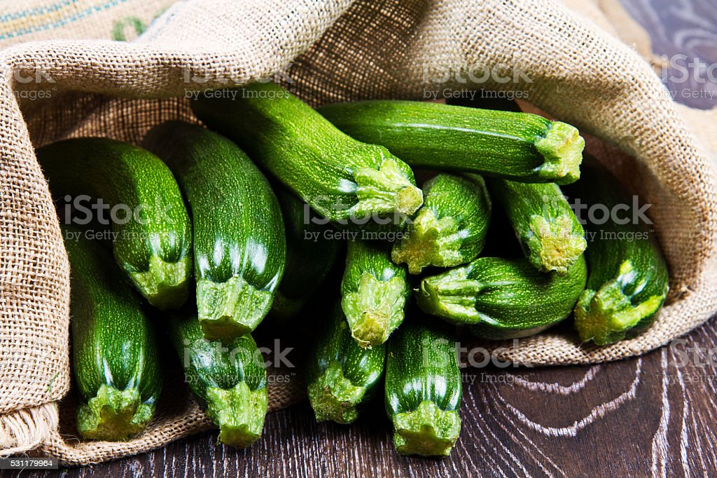 zucchini in sack stock photo