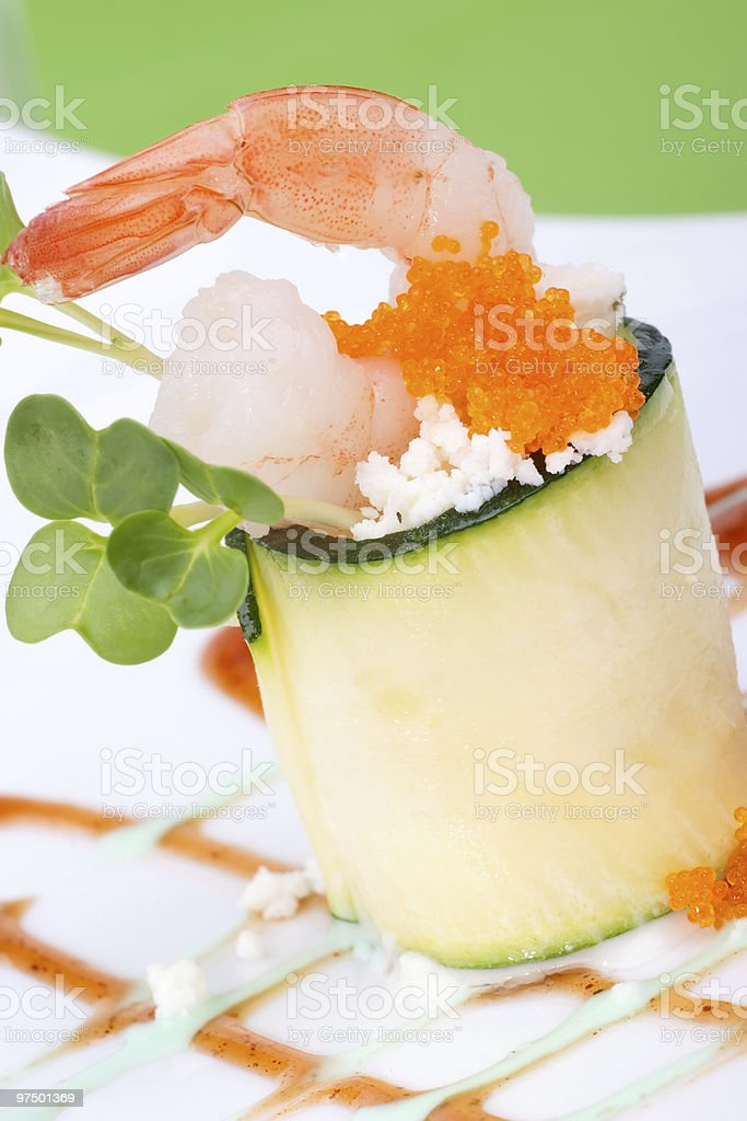 Zucchini Rolls with shrimps royalty-free stock photo