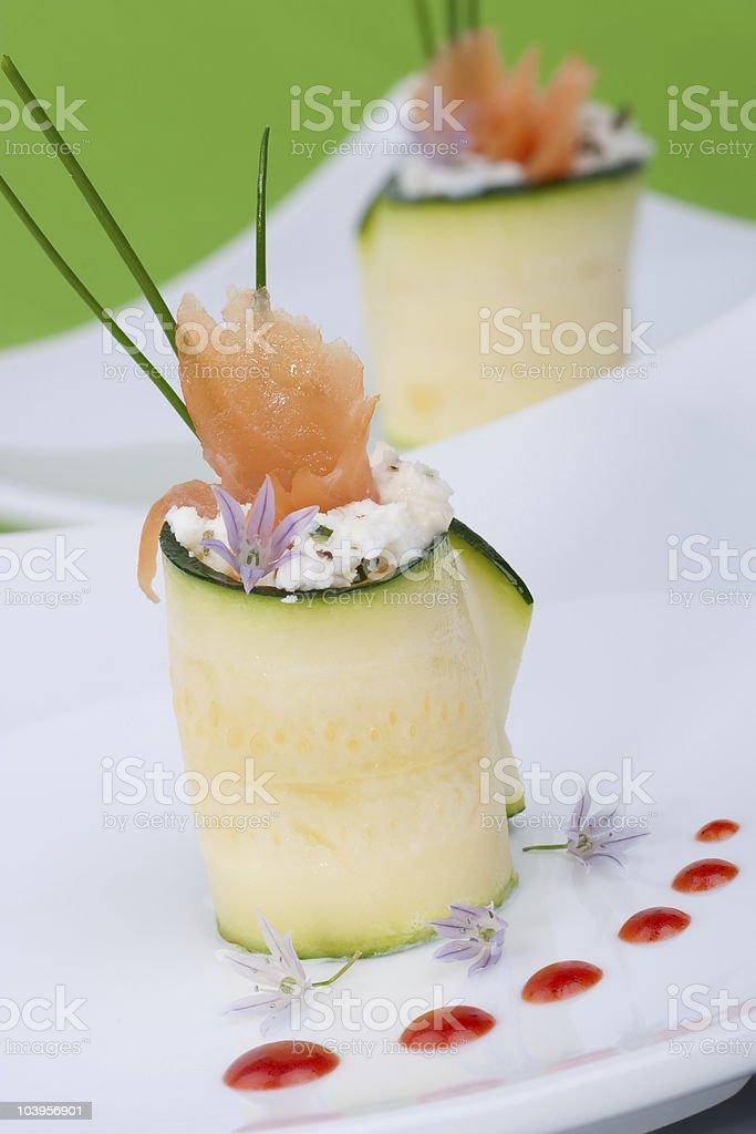 Zucchini Rolls with smoked salmon royalty-free stock photo