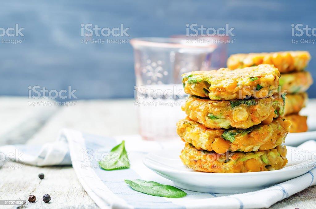 zucchini spinach chickpea burgers stock photo
