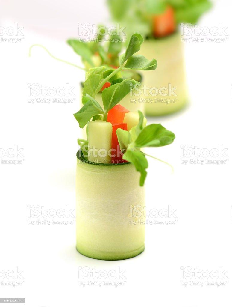 Zucchini Vegan Rolls stock photo