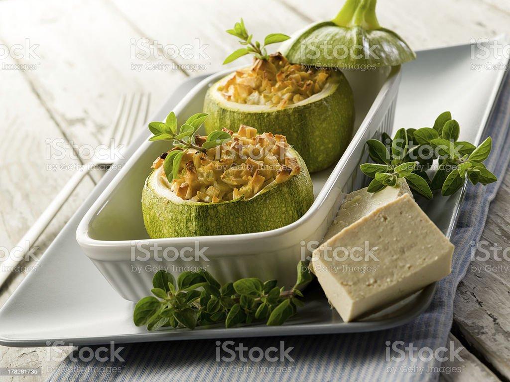 Zucchinis stuffed with tofu cheese royalty-free stock photo