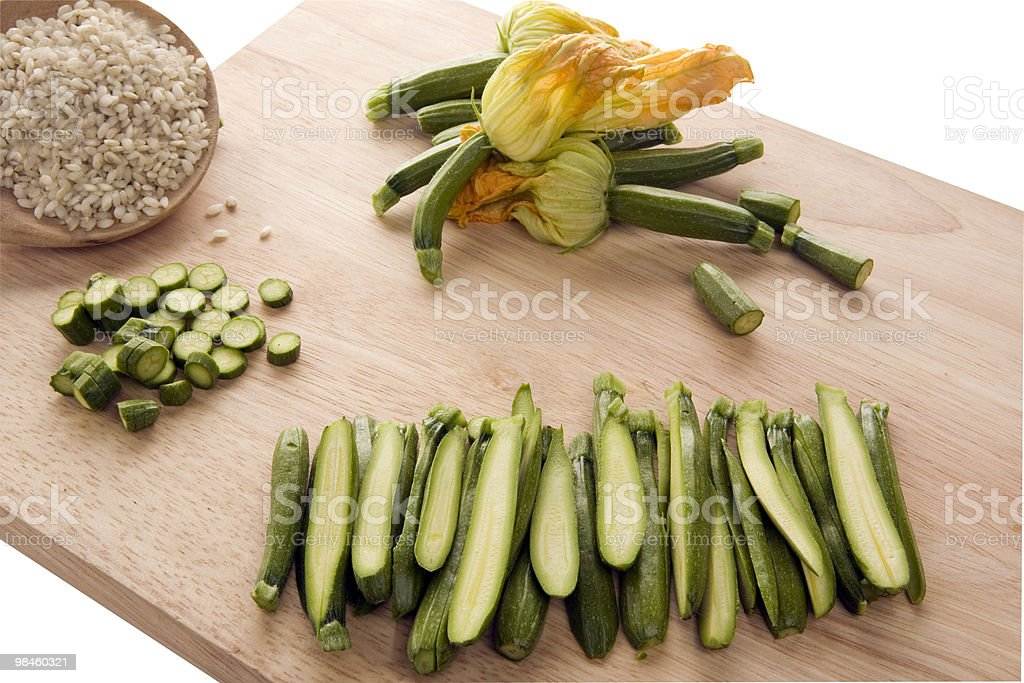 zucchinis with the flower and rice royalty-free stock photo