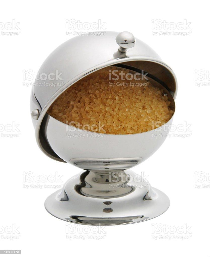 Zuckerdose mit braunem Zucker stock photo