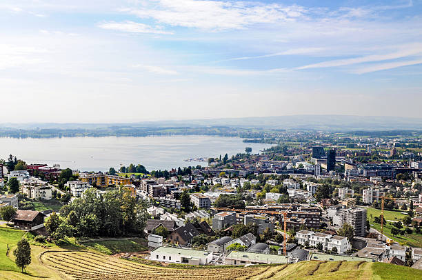 Zug City View Swiss City Zug - Panoramic View. zug stock pictures, royalty-free photos & images