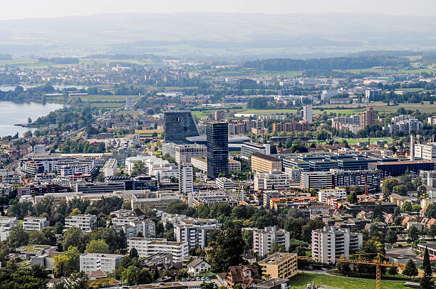 Zug City View Zug - Swiss Town panoramic View, zug stock pictures, royalty-free photos & images