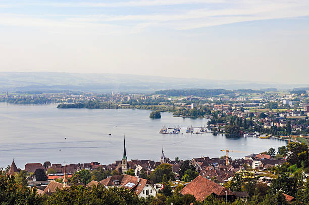 Zug City View with Lake Old Town from Zug City. zug stock pictures, royalty-free photos & images