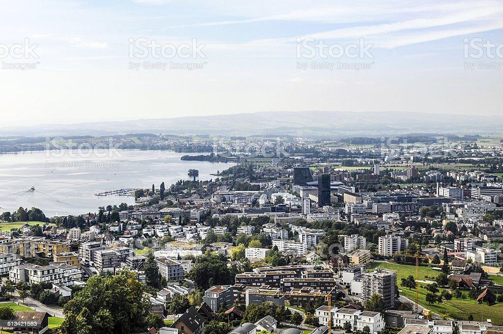 Zug City with Lake stock photo