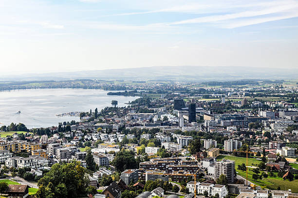 Zug City with Lake Zug City (Switzerland) with Lake. zug stock pictures, royalty-free photos & images