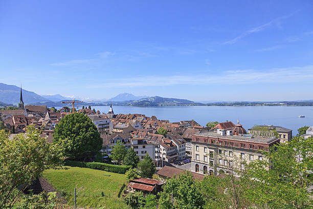 Zug cityscape View in Zug city, Switzerland zug stock pictures, royalty-free photos & images