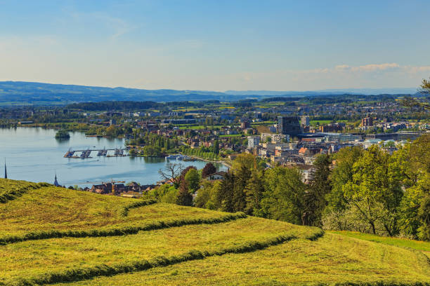 Zug cityscape Zug, Switzerland - 6 May, 2016: view of the town of Zug. Zug is a town in central Switzerland, it is the capital of the Swiss canton of Zug. zug stock pictures, royalty-free photos & images