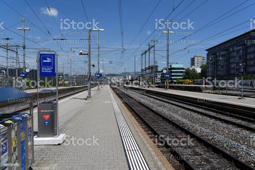 Zug city with railroad station platforms at the railwy station. Zug...