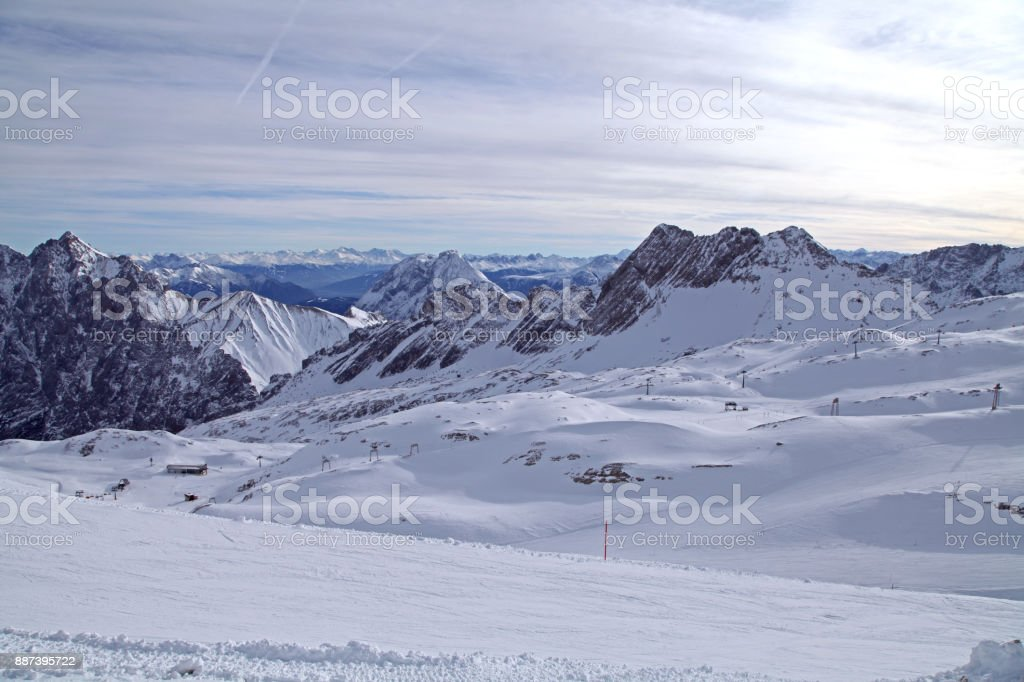 zugspitze alps mountain snow ski in winter blue sky landscape garmisch germany stock photo