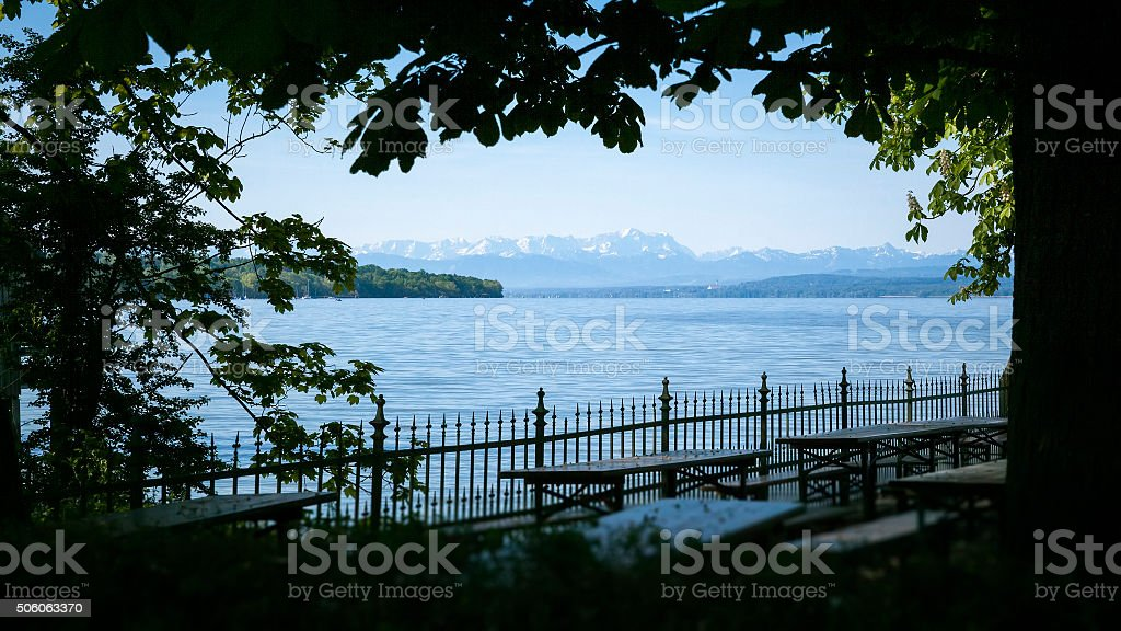 Zugspitze Ammersee stock photo
