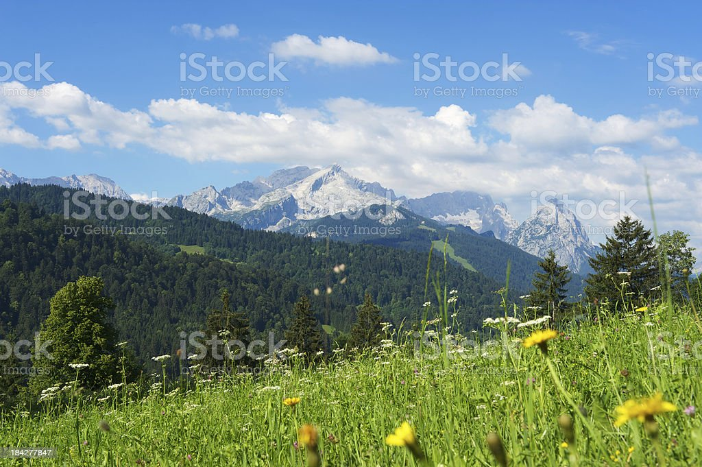 Zugspitze and Alpspitze mountain royalty-free stock photo