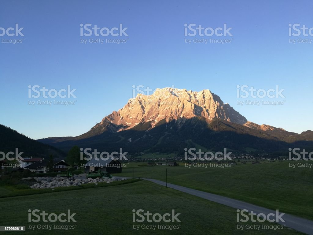 Zugspitze and Ehrwald stock photo