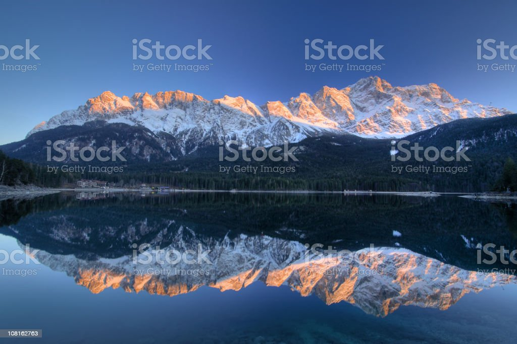 Zugspitze and Eibsee - Garmisch-Partenkirchen, Bavaria royalty-free stock photo