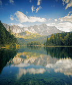 Panoramic view of the mountain Zugspitze and the lake Eibsee near Garmisch-Partenkirchen