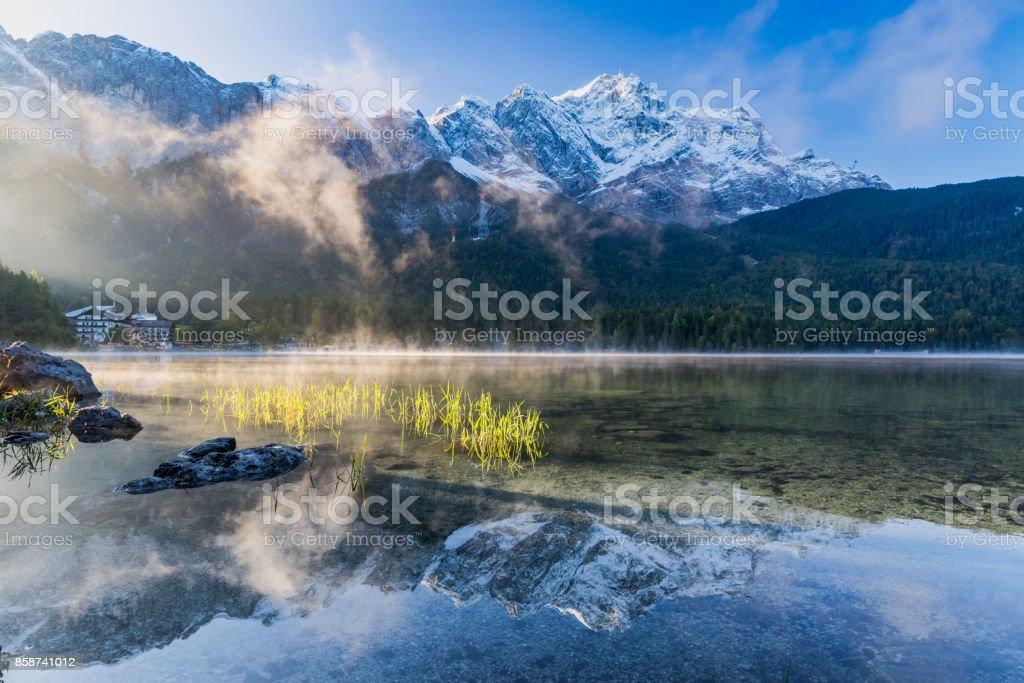 Zugspitze and Eibsee Panorama - Garmisch-Partenkirchen, Bavaria stock photo