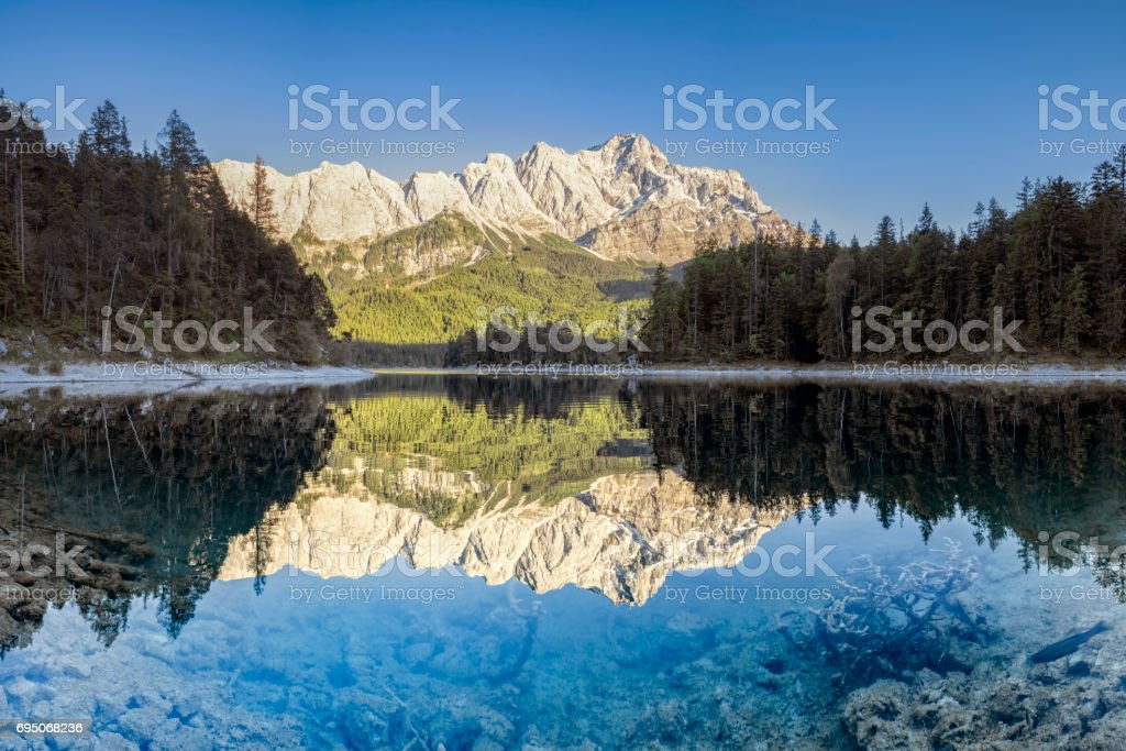 Zugspitze and Eibsee-Garmisch-Partenkirchen, Fish is crossing the Picture stock photo