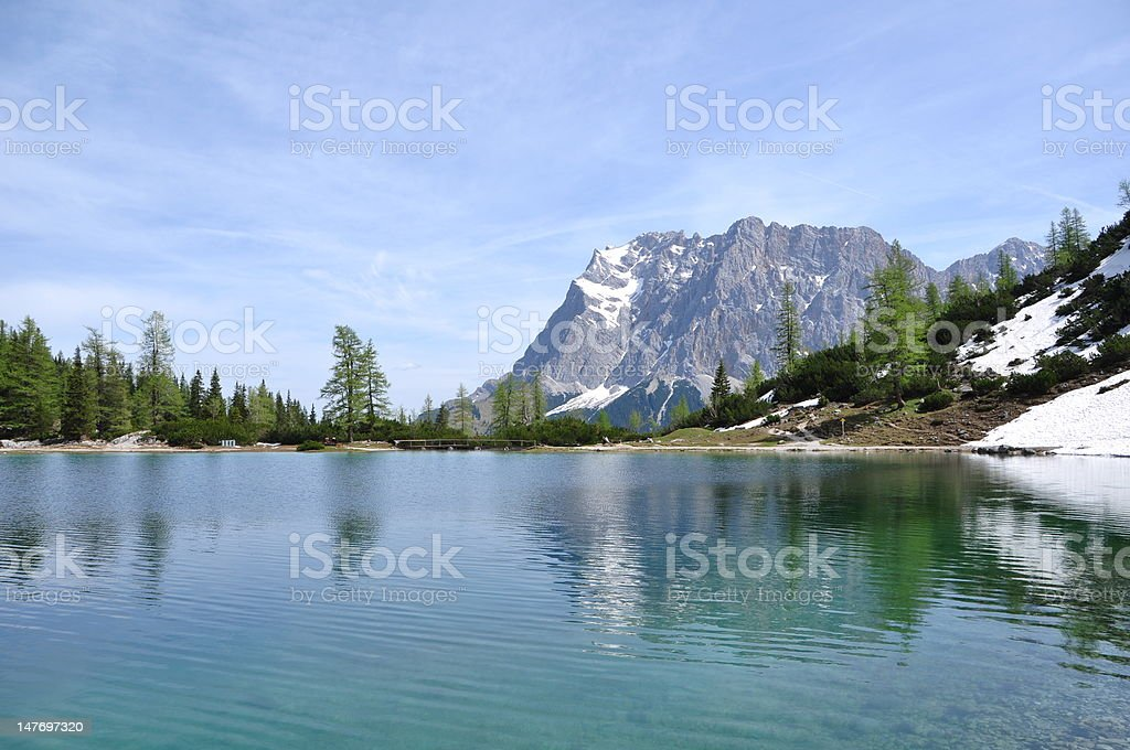 Zugspitze from Seebensee royalty-free stock photo