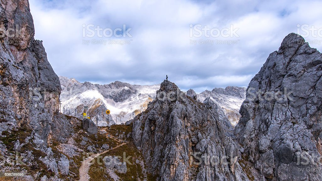 Zugspitze Gatterl (Border) Hiking Path as seen from Feldernjöchl. stock photo