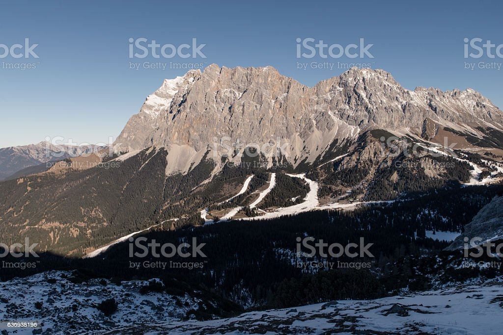 Zugspitze in wintertime stock photo