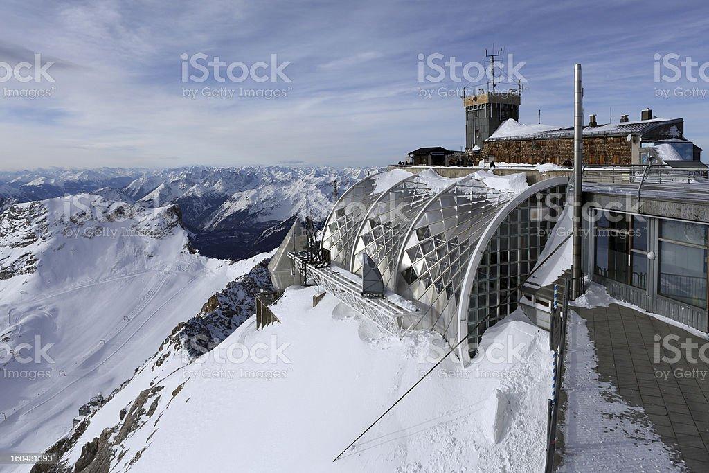 Zugspitze Mountain Alpine Hut stock photo