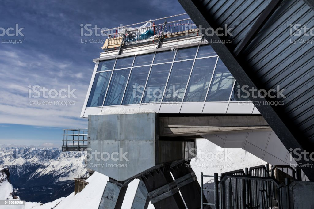 zugspitze mountain peak station german alps in the winter