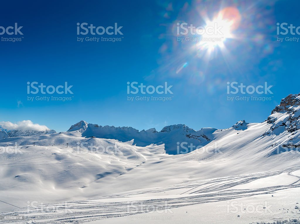 Zugspitze Ski Resort in Bavarian Alps, Germany stock photo