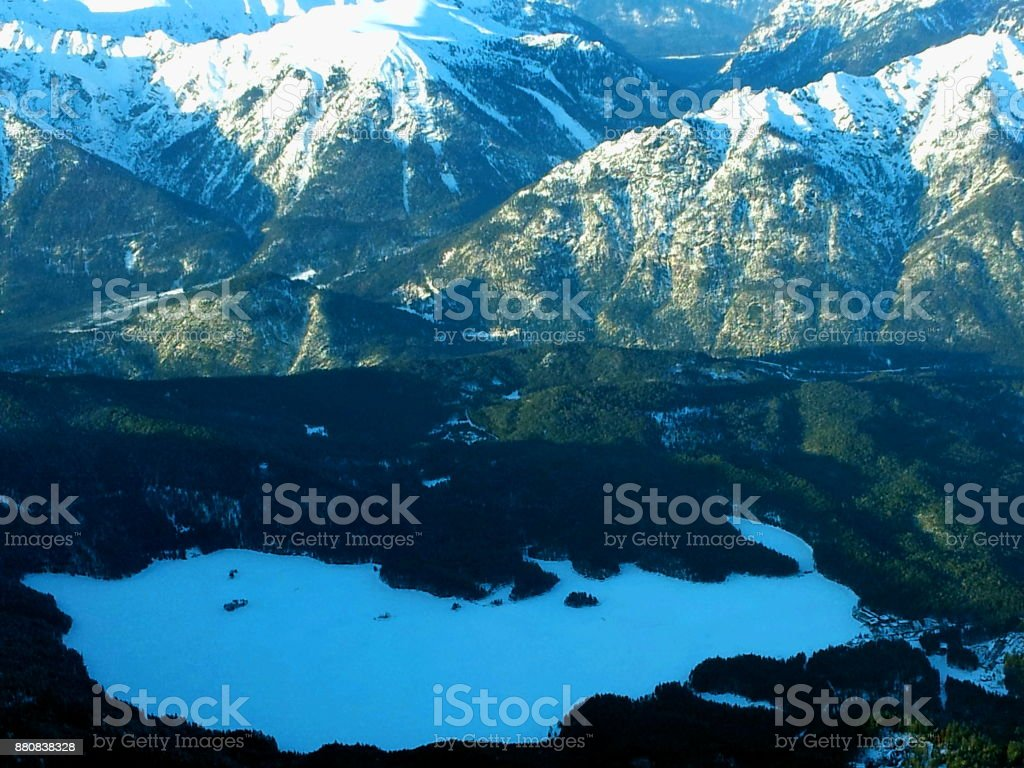 Map Of Germany Landforms.Zugspitze Snow Mountains With Mountain Lake In Alps At Winter
