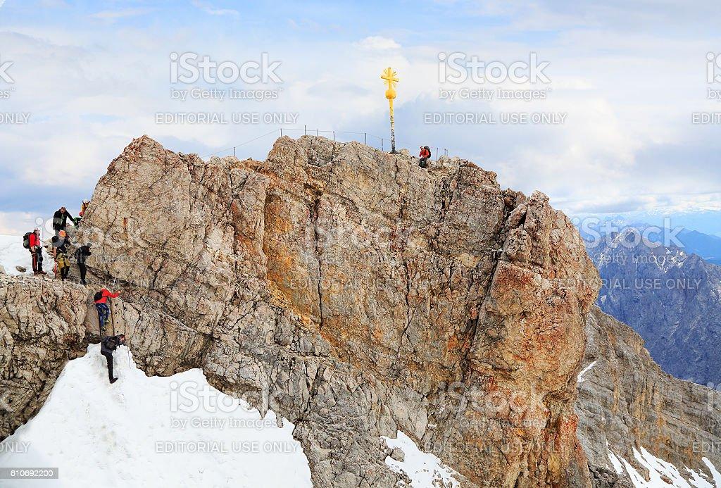 Zugspitze summit, Germany stock photo