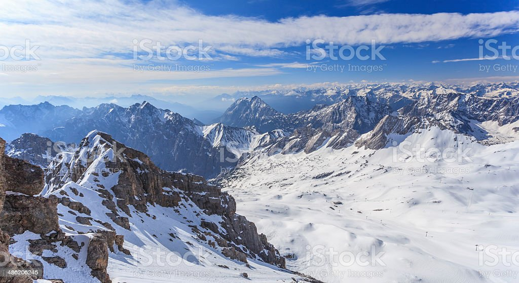 Zugspitze top of Germany stock photo