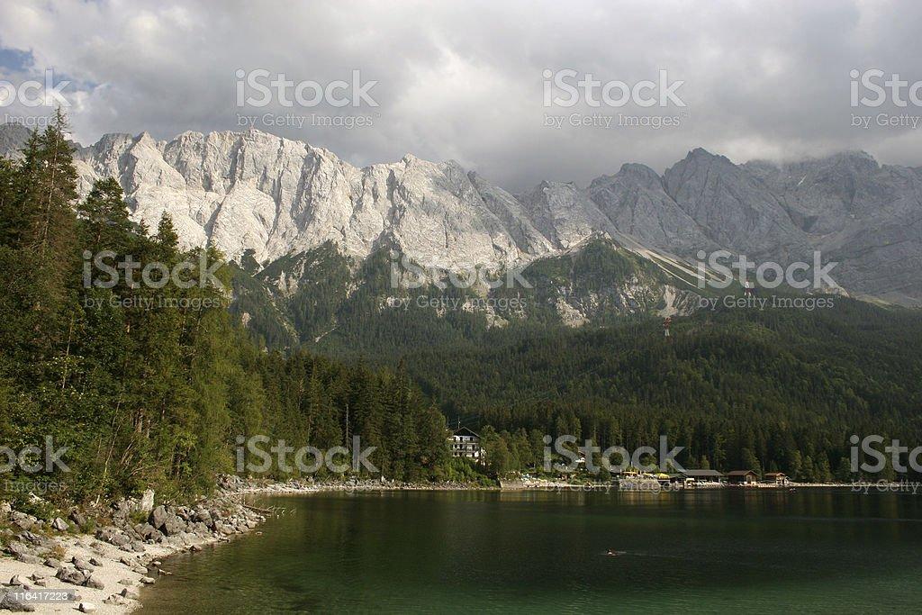 Zugspitze und Eibsee stock photo