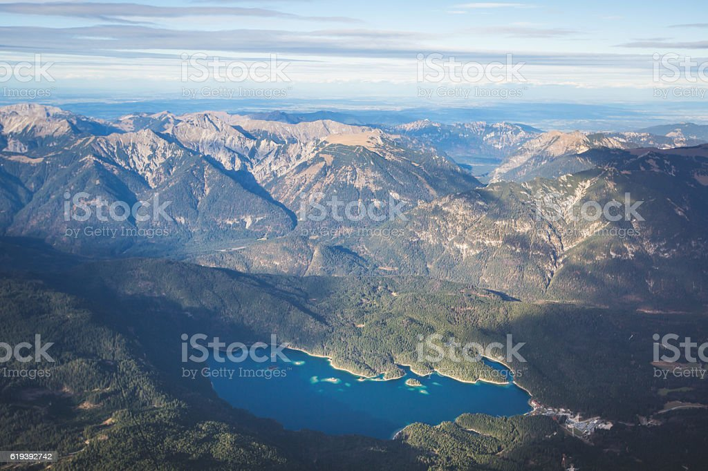 Zugspitze View - the highest mountain peak in Germany, Bavaria stock photo