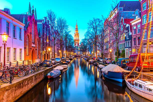 zuiderkerk in amsterdam - keizersgracht stockfoto's en -beelden