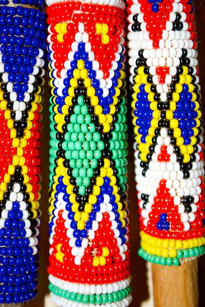 Zulu Crafted Beadwork Handles stock photo