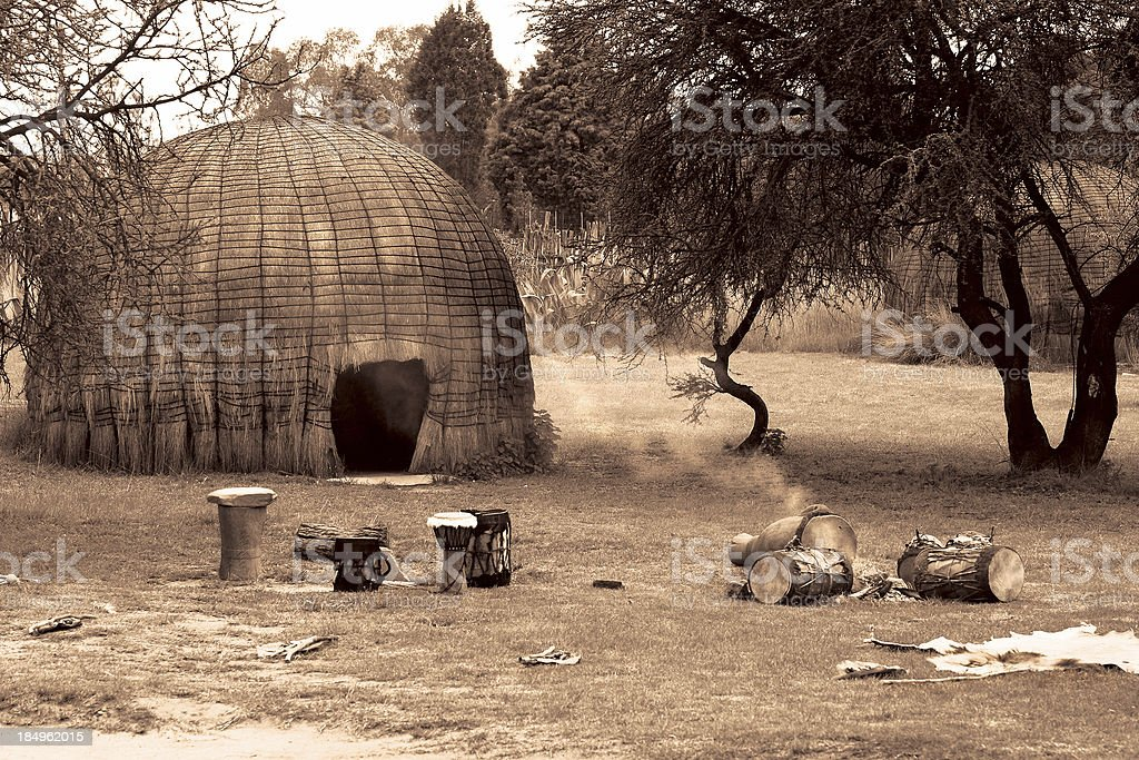 Zulu Kraal Sepia royalty-free stock photo