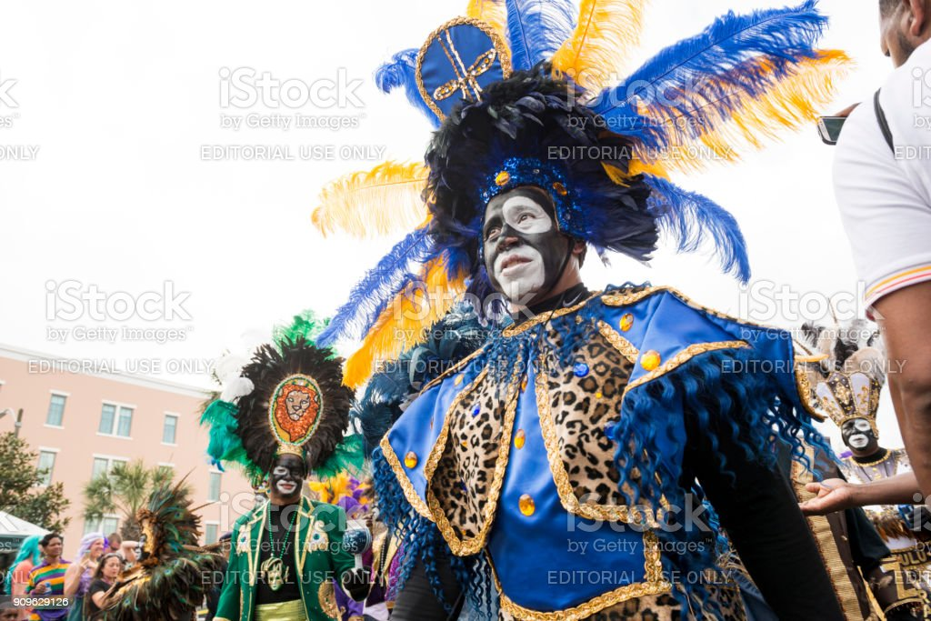 Zulu Krewe Parade New Orleans Mardi Gras Celebration Louisiana USA royalty-free stock photo