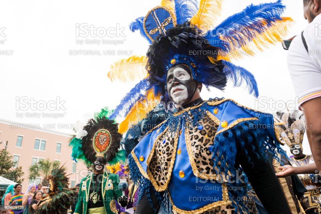 Zulu Krewe Parade New Orleans Mardi Gras Celebration Louisiana USA royalty-free stock photo