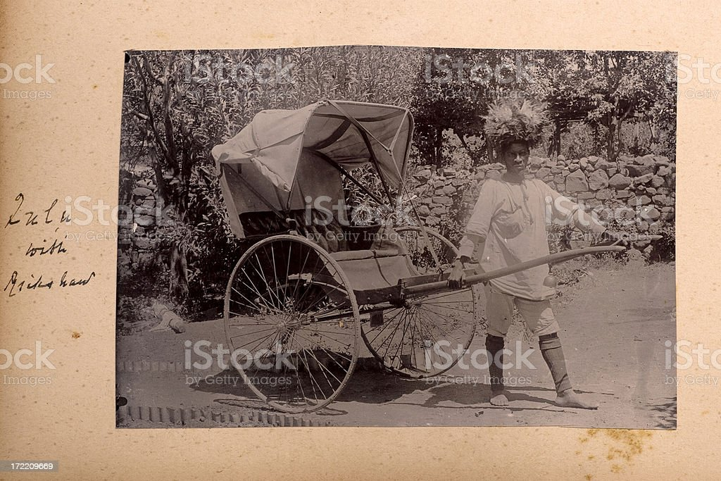 Zulu with rickshaw stock photo