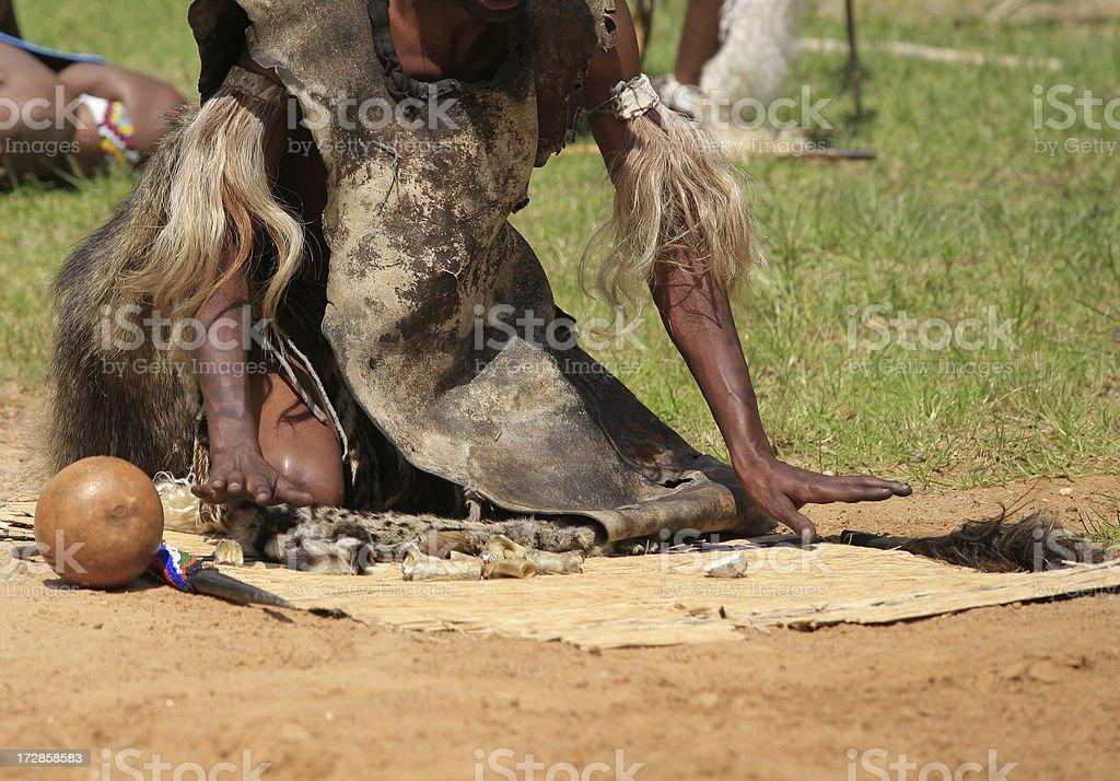 Zulu withdoctor throwing bones stock photo
