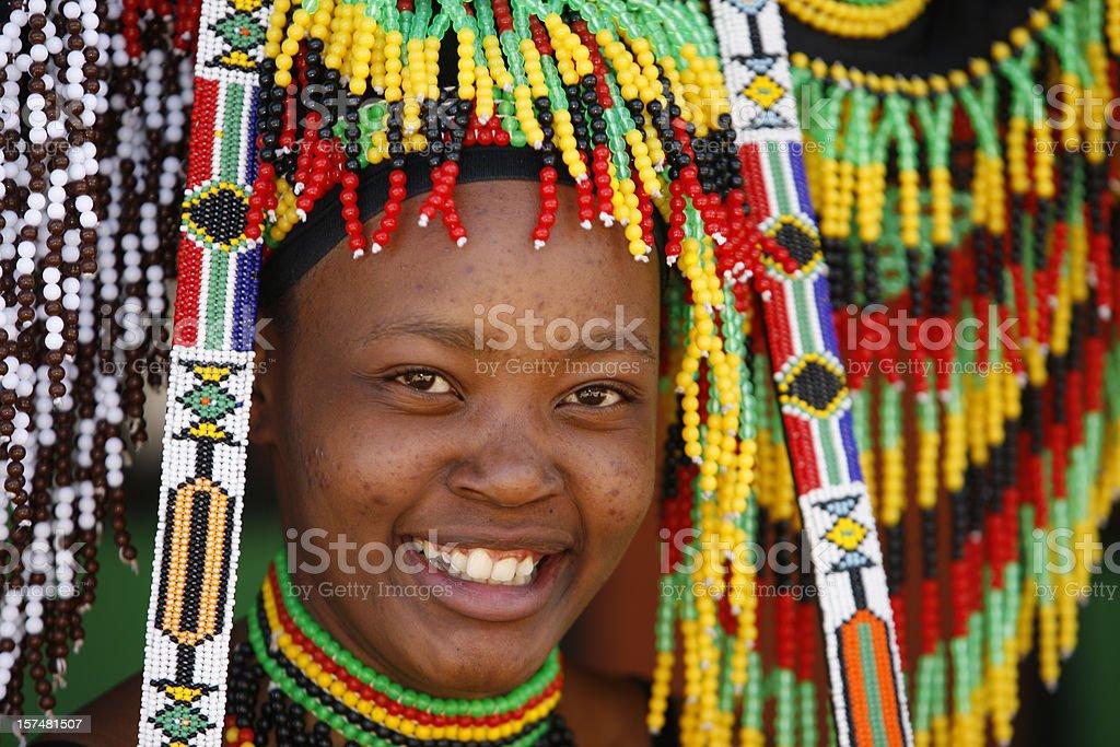 Zulu woman amongst beads royalty-free stock photo