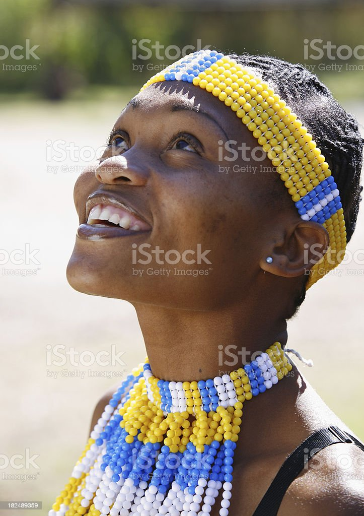 Zulu woman looking up royalty-free stock photo