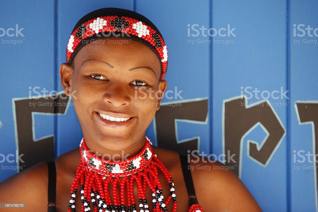 Zulu woman portrait on blue stock photo