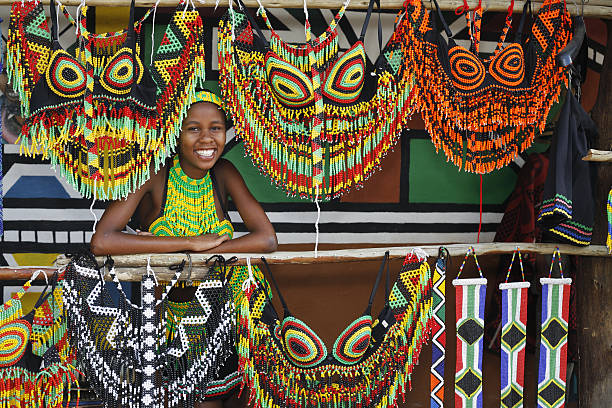 Zulu woman with souvenirs stock photo