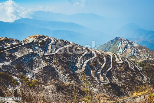 Zuluk hilltop the transit point of Silk Route From Thambi View Point. The road makes 32 hairpin turns. Located on rugged terrain of lower Himalaya in Sikkim. Historic Silk Route from Tibet to India.