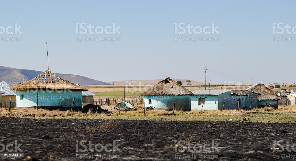 Zululand village rural hauses, South Africa stock photo