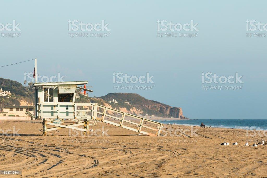 Zuma Beach Lifeguard Tower Near Sunset stock photo