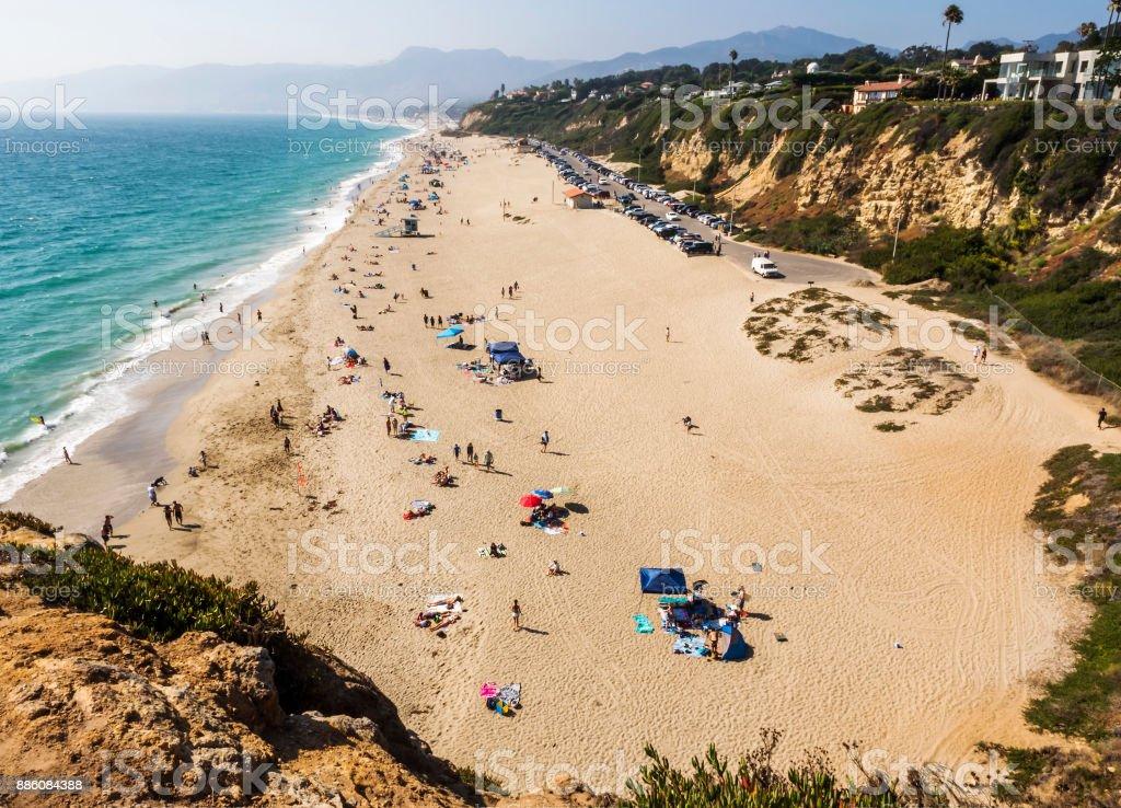 Zuma Beach with seagulls - Zuma Beach, Los Angeles, LA, California, CA, USA stock photo